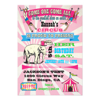 GIrly Circus Poster Style Party Invitations