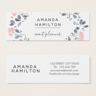 Girly Classy  Watercolor frame Bouquet pink grey Mini Business Card