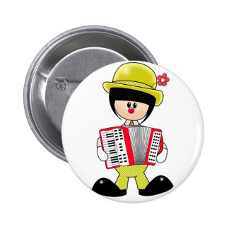 Girly Clown with Accordian Pinback Button
