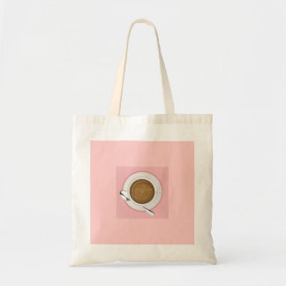 GIRLY COFFEE PINK CAFE HAPPY BEVERAGES GOOD MORNIN TOTE BAG