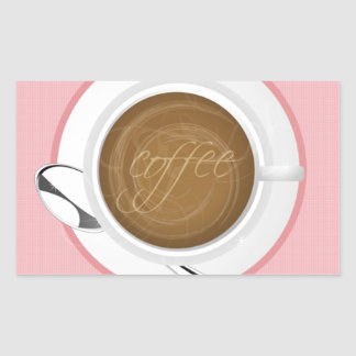 GIRLY COFFEE PINK CAFE HAPPY BEVERAGES GOOD MORNIN RECTANGULAR STICKER