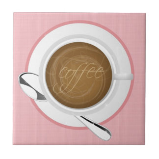 GIRLY COFFEE PINK CAFE HAPPY BEVERAGES GOOD MORNIN TILE