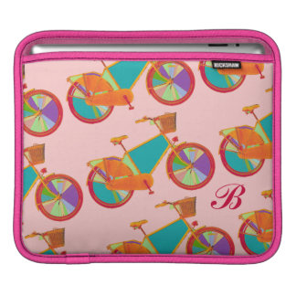 girly color bicycles pattern iPad sleeve
