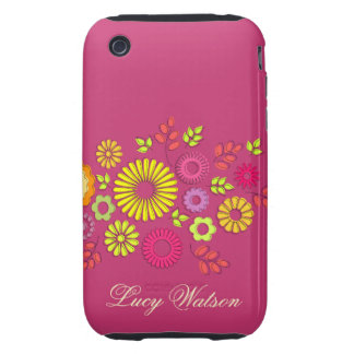 Girly colorful and pink summer flowers iPhone 3 tough cover