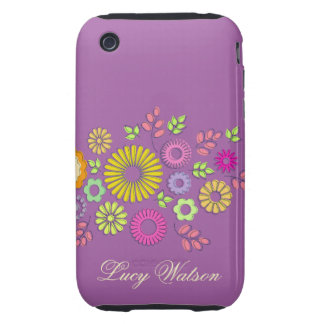 Girly colorful and purple summer flowers tough iPhone 3 case