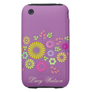 Girly colorful and purple summer flowers tough iPhone 3 cover