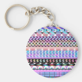 Girly Colorful Aztec Pattern Keychain