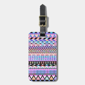 Girly Colorful Aztec Pattern Luggage Tag