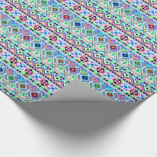 Girly Colorful Aztec Tribal Pattern Wrapping Paper