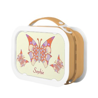 This lunchbox features three colorful butterflies on each faceplate, each butterfly in detailed coral and pastel colors. Personalize with your choice of name.