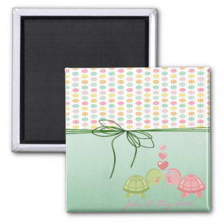 Girly Colorful Buttons,Turtles In Love Magnet