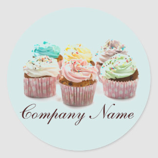 girly colorful cupcakes bakery business classic round sticker