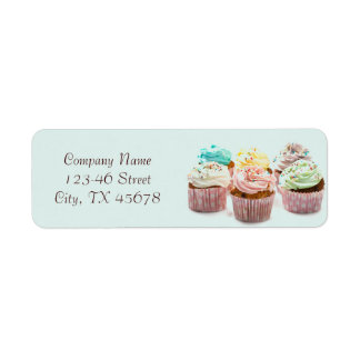 girly colorful cupcakes bakery business label