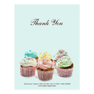 girly colorful cupcakes bakery business postcard
