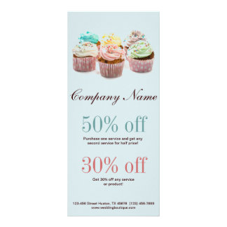 girly colorful cupcakes bakery business rack card