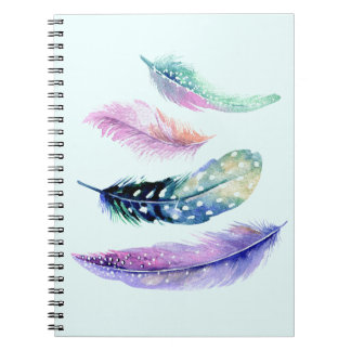 Girly Colorful Feathers Design Custom Notebook