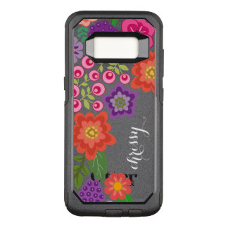 Girly Colorful Floral Pattern Custom Name Monogram OtterBox Commuter Samsung Galaxy S8 Case