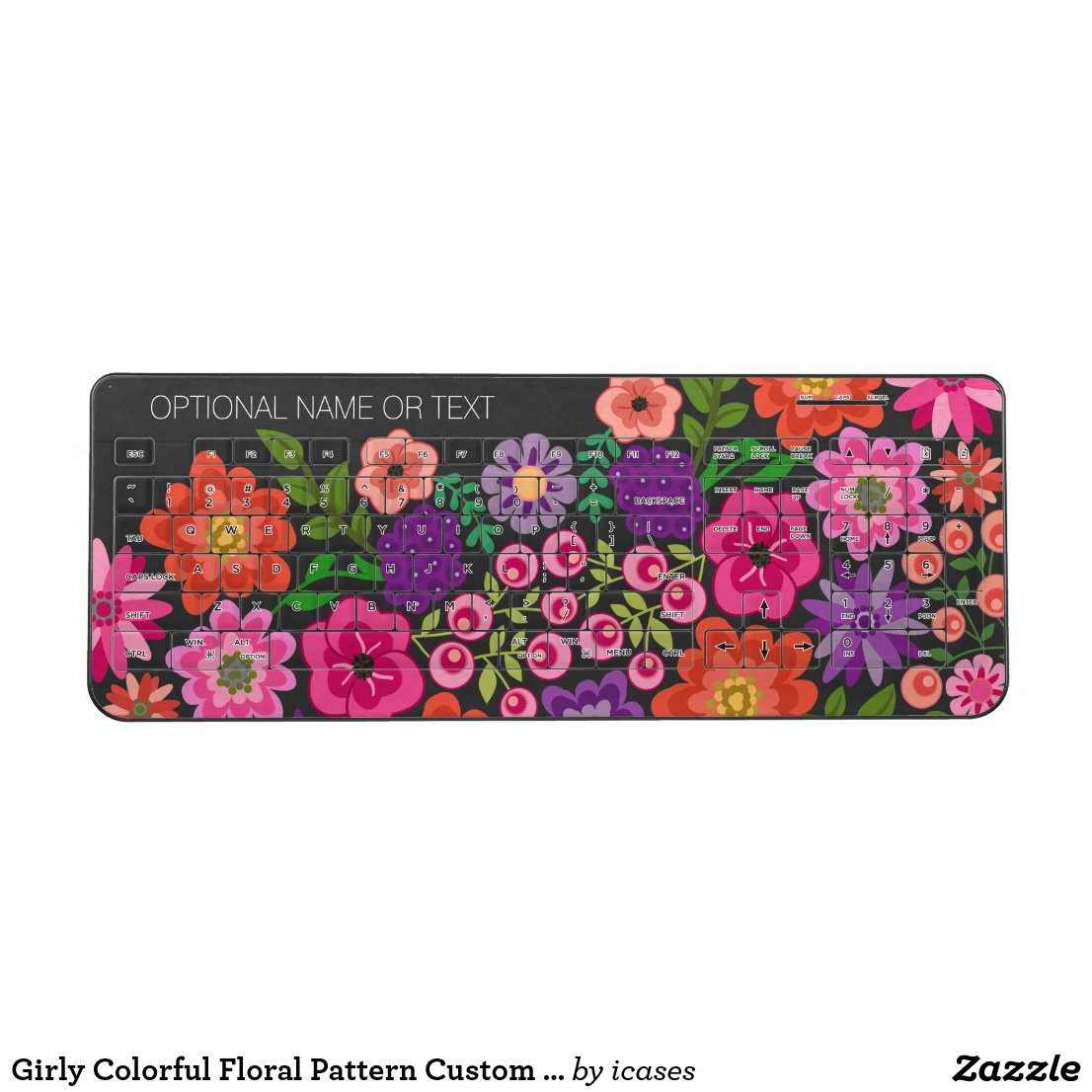 Girly Colorful Floral Pattern Custom Name Monogram Wireless Keyboard