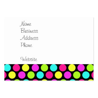 Girly Colorful Fun Neon Polka Dots Pattern Large Business Card