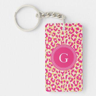 Girly colorful pink cheetah print monogram keychain