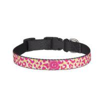 Girly colorful pink cheetah print monogram pet collar