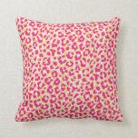 Girly colorful pink cheetah print monogram pillow
