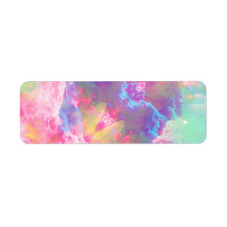 Girly Colorful Pink Turquoise Watercolor Clouds Custom Return Address Label
