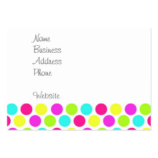Girly Colorful Polka Dots Pattern for Girls Large Business Cards (Pack Of 100)