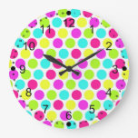 Girly Colorful Polka Dots Pattern For Girls Large Clock at Zazzle