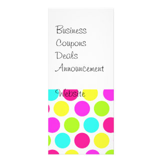 Girly Colorful Polka Dots Pattern for Girls Rack Card