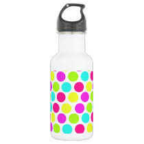 Girly Colorful Polka Dots Pattern for Girls Water Bottle