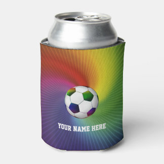 Girly Colorful Soccer | Football Can Cooler