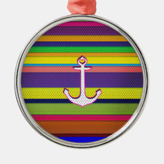Girly Colorful Stripe polka dot heart anchor Round Metal Christmas Ornament