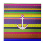 Girly Colorful Stripe polka dot heart anchor Tile