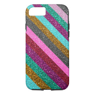 Girly Colorful Stripes Glitter iPhone 8/7 Case