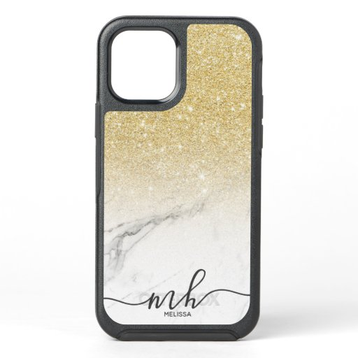 Girly cool chic gold glitter ombre marble monogram OtterBox symmetry iPhone 12 case