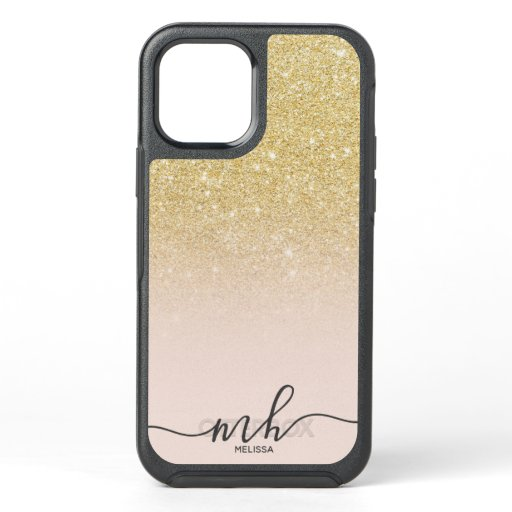 Girly cool chic gold glitter ombre pink monogram OtterBox symmetry iPhone 12 case