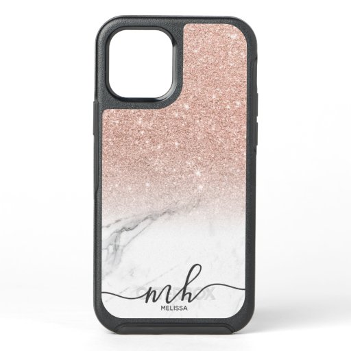 Girly cool rose gold glitter ombre marble monogram OtterBox symmetry iPhone 12 case