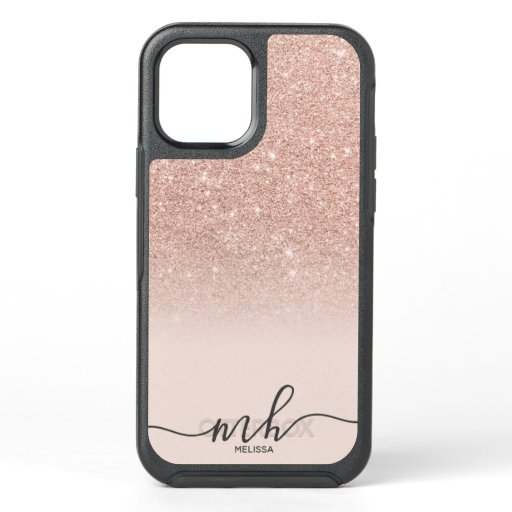 Girly cool rose gold glitter ombre pink monogram OtterBox symmetry iPhone 12 case