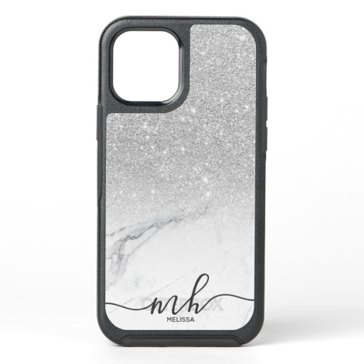 Girly cool silver glitter ombre marble monogram OtterBox symmetry iPhone 12 case