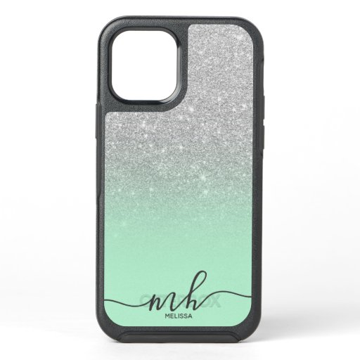 Girly cool silver glitter ombre mint monogram OtterBox symmetry iPhone 12 case