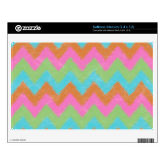 Girly Coral and Mint Bohemian Chevron Pattern Netbook Skin