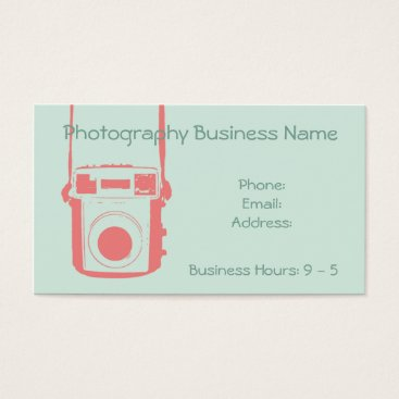 Professional Business Girly Coral and Mint Vintage Camera Business Card
