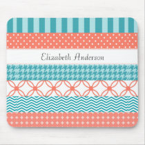 Girly Coral and Teal Washi Tape Pattern With Name Mouse Pad