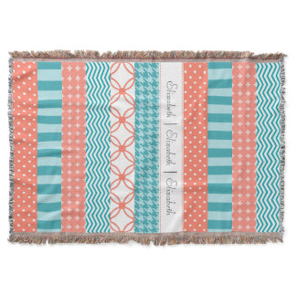 Girly Coral and Teal Washi Tape Pattern With Name Throw