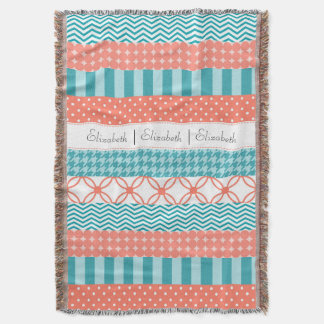 Girly Coral and Teal Washi Tape Pattern With Name Throw Blanket