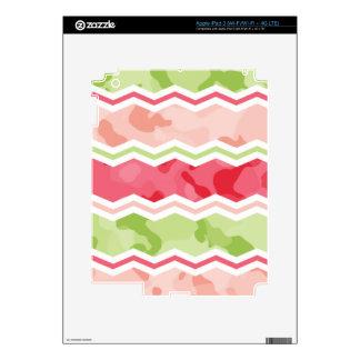 Girly Coral Pink and Light Green Chevron Camo iPad 3 Skins