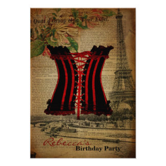 Girly corest paris french vintage birthday party personalized invite