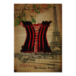Girly corest paris french vintage birthday party 3.5x5 paper invitation card