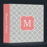 """Girly Custom Monogram Coral Gray School Binder<br><div class=""""desc"""">A cute and pretty designer monogrammed school binder with a girly coral pink,  light gray and white quatrefoil pattern. Customize the spine and add your monogram for an elegant,  unique and cool school or office accessory.</div>"""